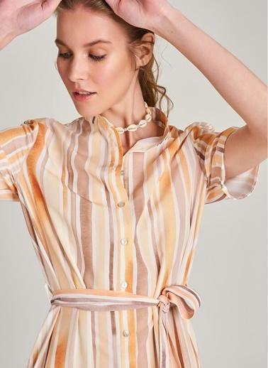 NGSTYLE Kısa Kollu Desenli Gömlek Elbise Sarı
